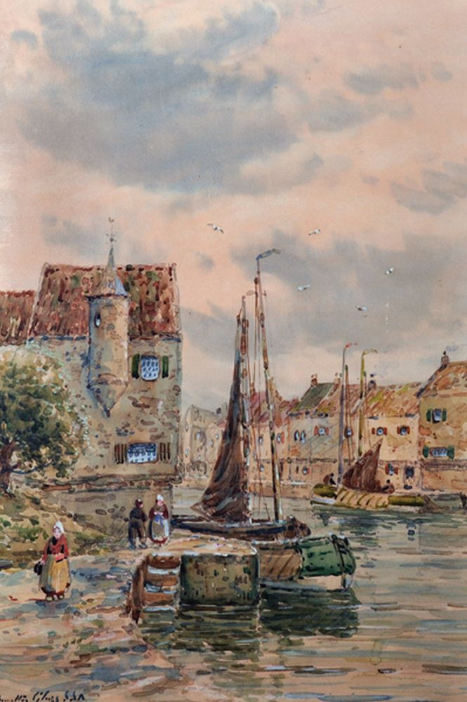 John Hamilton Glass (act.1890-1925) British. A Dutch Canal Scene, with Figures and Boats, Watercolour, Signed, 19.25