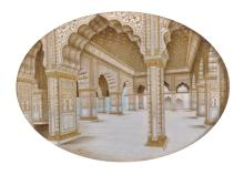 19th Century Indian School. A Delhi Fort Courtyard, Mixed Media, Oval, 5.5
