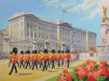 A... E... Vincent (20th Century) British. The Changing of the Guards, at Buckingham Palace, Mixed Media, Signed, 15