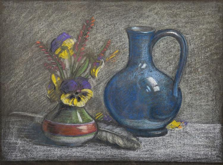 Frederick William George (1889-1971) British. Still Life with a Vase of Flowers and a Blue Jug, Pastel, 10.5