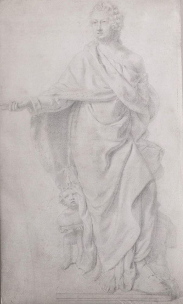 18th Century European School. Study of a Statue, with a Figure and Cherub, Graphite on Vellum, Unframed, 13.5