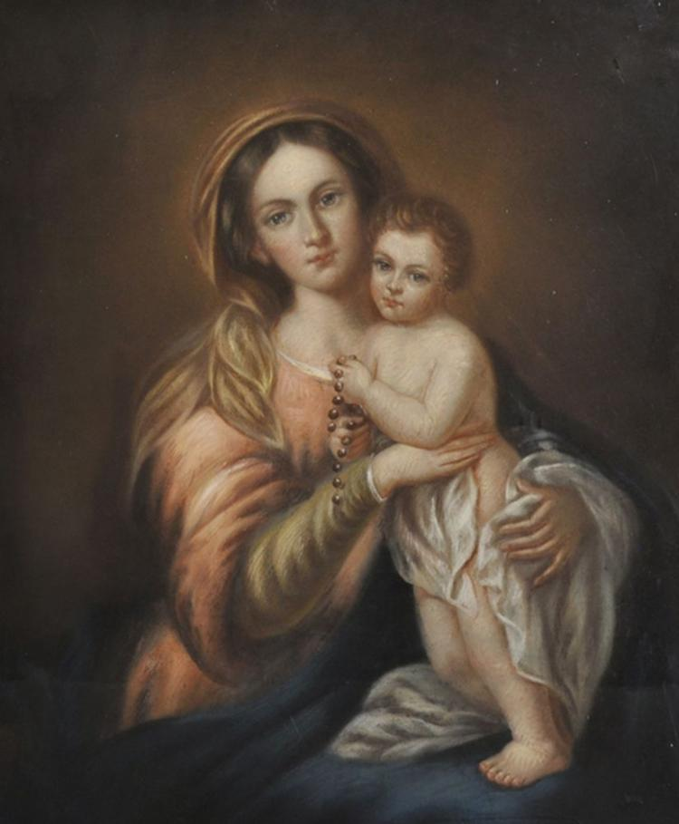 After Bartolome Esteban Perez Murillo (1617-1682) Spanish. Virgin and Child with a Rosary, Pastel on Paper laid down on Canvas, 21.25