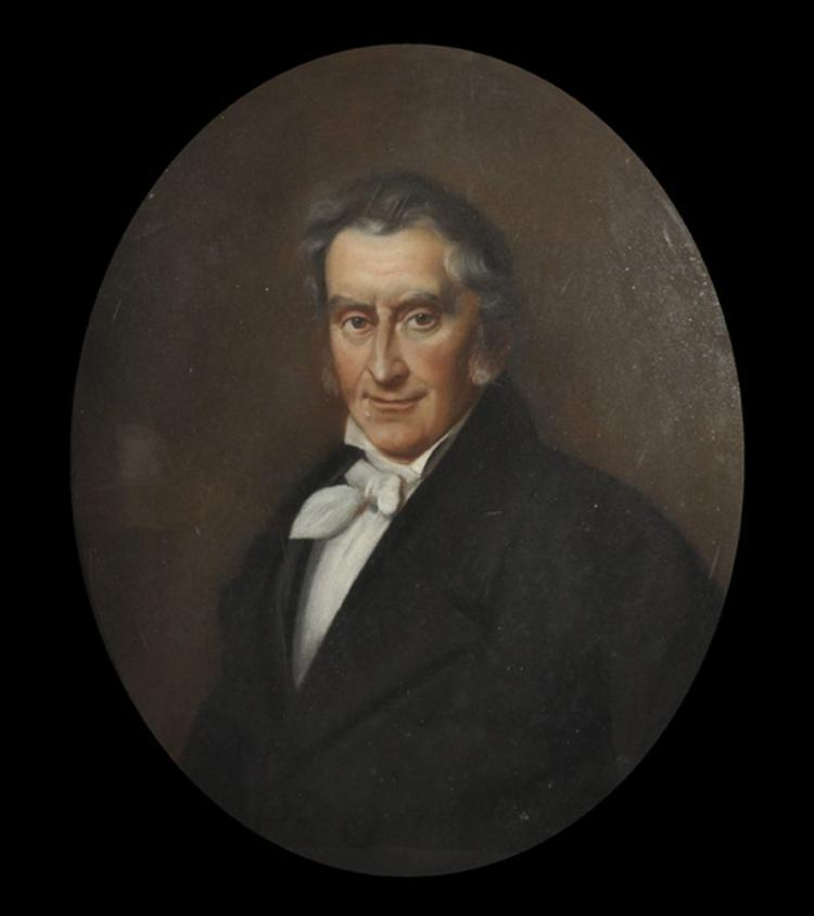 19th Century English School. Portrait of a Gentleman, Pastel, Oval, 21.25