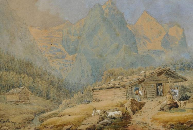 Alexandre Calame (1810-1864) Swiss. An Alpine Scene with Figures by a Chalet, Watercolour, Signed, 4.75