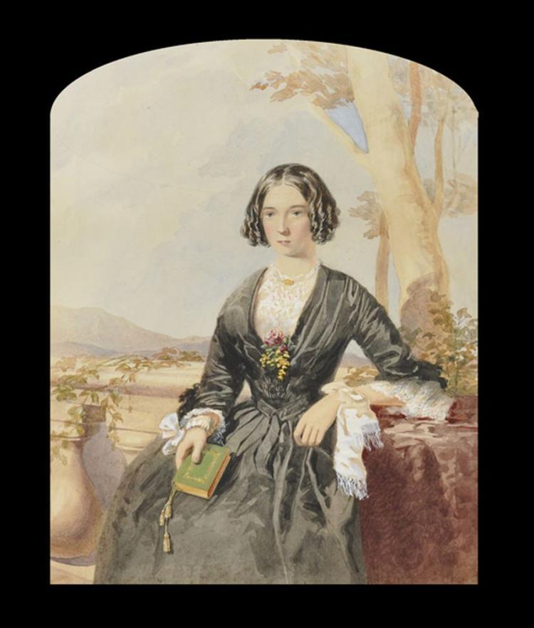 19th Century Australian School. Portrait of a Lady in a Landscape, Watercolour, Unframed, Arched 12.5