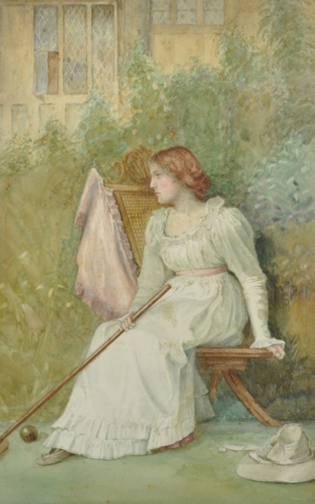 Circle of William Henry Margetson (1861-1940) British. A Lady seated in a Garden holding a Croquet Mallet, Watercolour, 15.5