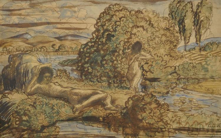 Derwent Lees (1885-1931) Australian. A Sketch of Naked Figures by a Lake, Ink and Wash, Signed and Dated '09, 7.75