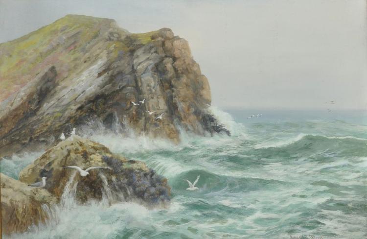 Reginald Daniel Sherrin (1891-1971) British. A Stormy Coastal Scene with Seagulls, Mixed Media, Signed, 20