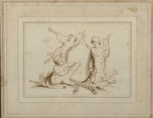 18th Century Italian School. 'The Arts', Cupids Playing the Lyre and a Horn with a Cupid Drawing, Sepia, 3