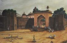 Tunagariya Gajanand Singh (20th Century) Indian. Figures by a Fort, Mixed Media, Signed, Inscribed and Dated '05.08.1997', 34