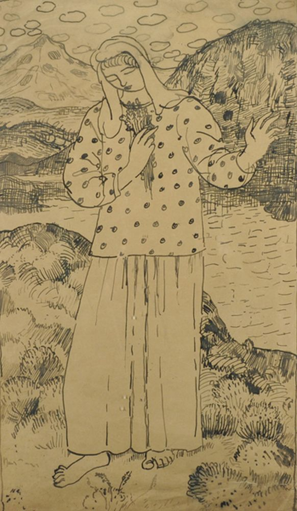 20th Century European School. Girl in a Landscape holding flowers, Pen and Ink, 19.25