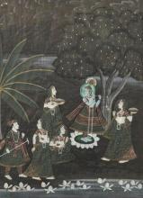 20th Century Persian School. Figures in a Garden, Mixed Media, 27