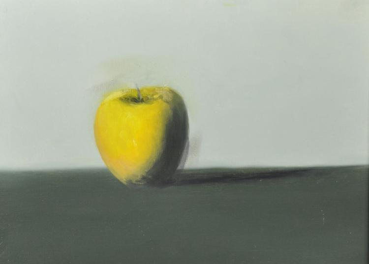 20th Century English School. Still Life of an Apple, Oil on Board, 12