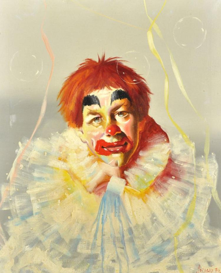 Horacio (20th - 21st Century) South American. A Study of a Clown, Oil on Canvas, Signed and Dated '74, 21.5
