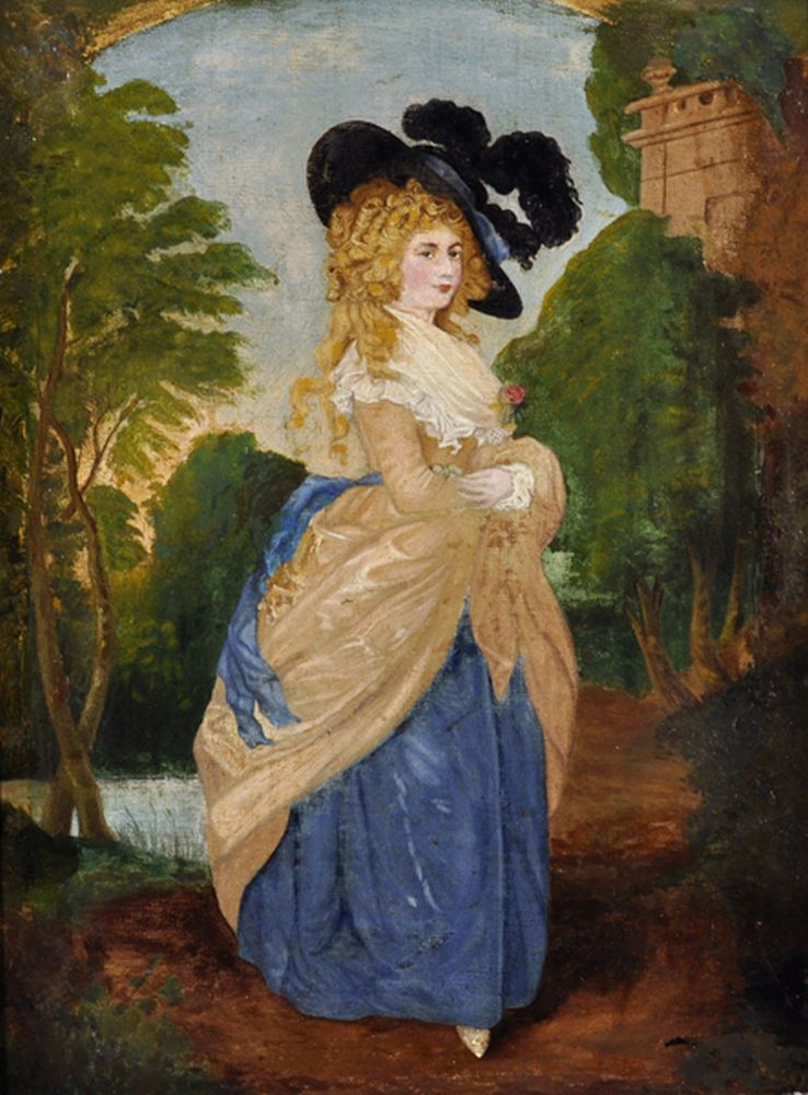 After Thomas Gainsborough (1727-1788) British. 'The Duchess of Devonshire', Portrait of a Lady in a Landscape holding a Flower, Oil on Canvas, 16
