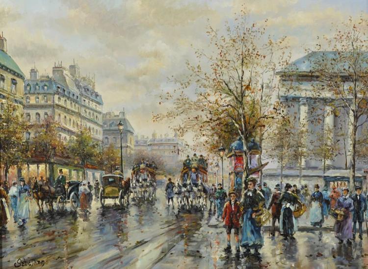 Sebastian (20th Century) French School Style. A Parisian Street Scene, Oil on Panel, Signed, 12