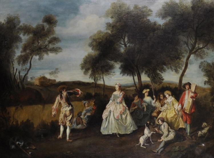 Manner of Jean-Antoine Watteau (1684-1721) French. A Musical Soiree with Elegant Figures, Oil on Canvas, 31.5