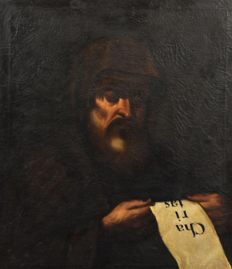 Manner of Bartolome Esteban Murillo (1618-1682) Spanish. Study of a Monk, Oil on Canvas, 27.25