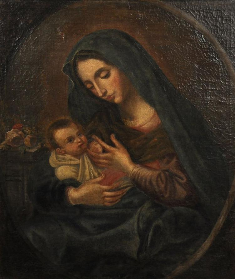 18th Century Italian School. A Mother and Child, in a Painted Oval, Oil on Canvas, 31.5