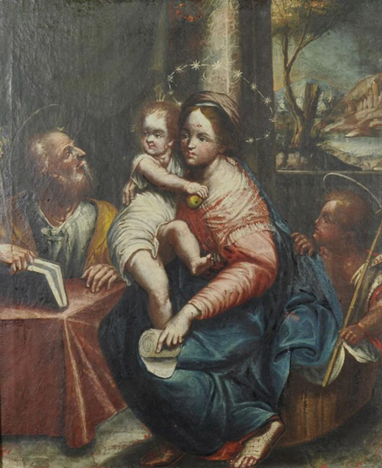 17th Century Italian School. The Madonna and Child, with St Francis and St John the Baptist, Oil on Canvas, 26.25