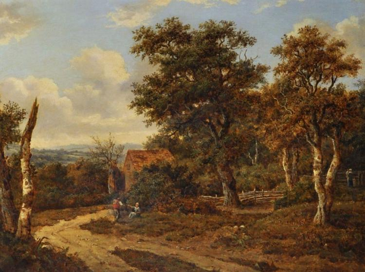 Patrick Nasmyth (1787-1831) British. A Lady Resting on a Country Lane with a Man Carrying a Basket nearby, Oil on Canvas, Signed and Dated 1810, 14