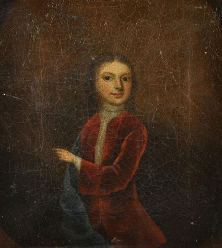 18th Century English School. Three Quarter Length Portrait of a Man in a Red Coat, White Stock with a Blue Sash, Oil on Canvas laid down, 8.5