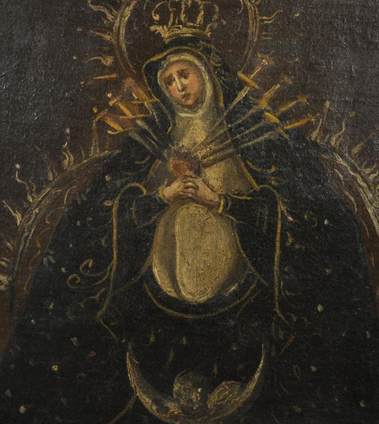 18th Century Spanish School. 'Our Lady of Sorrows', Oil on Canvas laid down, 16.25