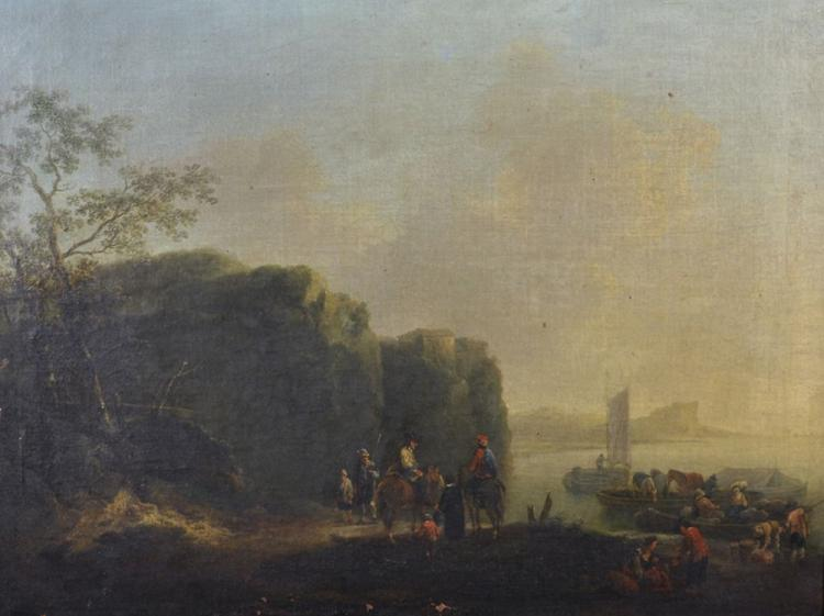 Johann Alexander Thiele (1685-1752) German. Figures on Horseback and other Figures Loading Barges before a River, Oil on Canvas, 18.5