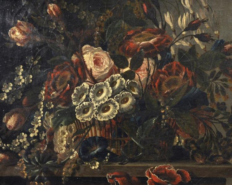 18th Century European School. Still Life of Flowers in a Basket, Oil on Canvas, 12.25