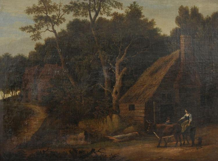 18th Century Dutch School. A Lady on a Donkey, with another Figure and Animals in a Landscape by a Cottage, Oil on Canvas, Indistinctly Signed, 16.5