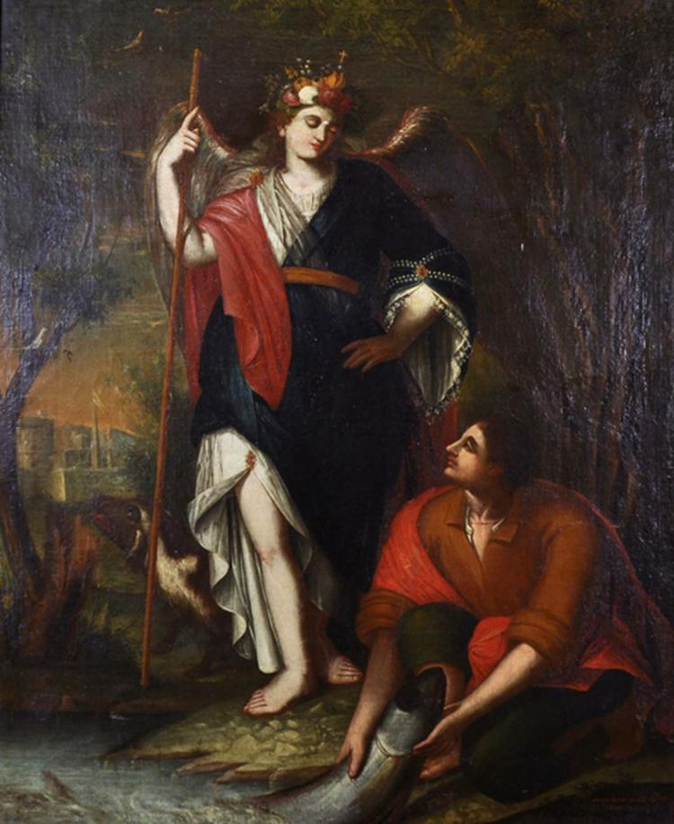 Gregorio Sanz (1763-1843) Spanish. Tobias and the Angel, Oil on Canvas, Signed, Inscribed 'Fecit Anno 1802', 40