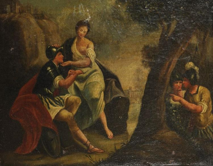 19th Century Continental School. Figures in a Classical River Landscape, Oil on Canvas, 18.5