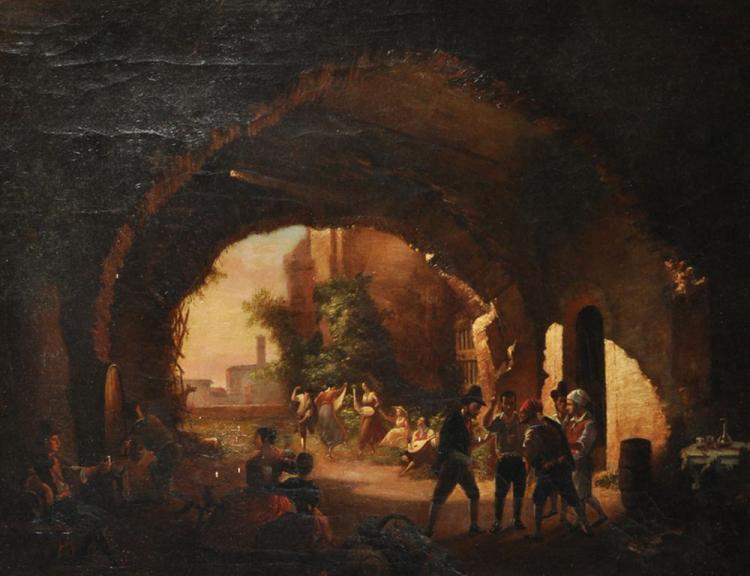 19th Century Italian School. A Neapolitan Scene with Figures Dancing a Tarantella, Oil on Canvas, 18.25