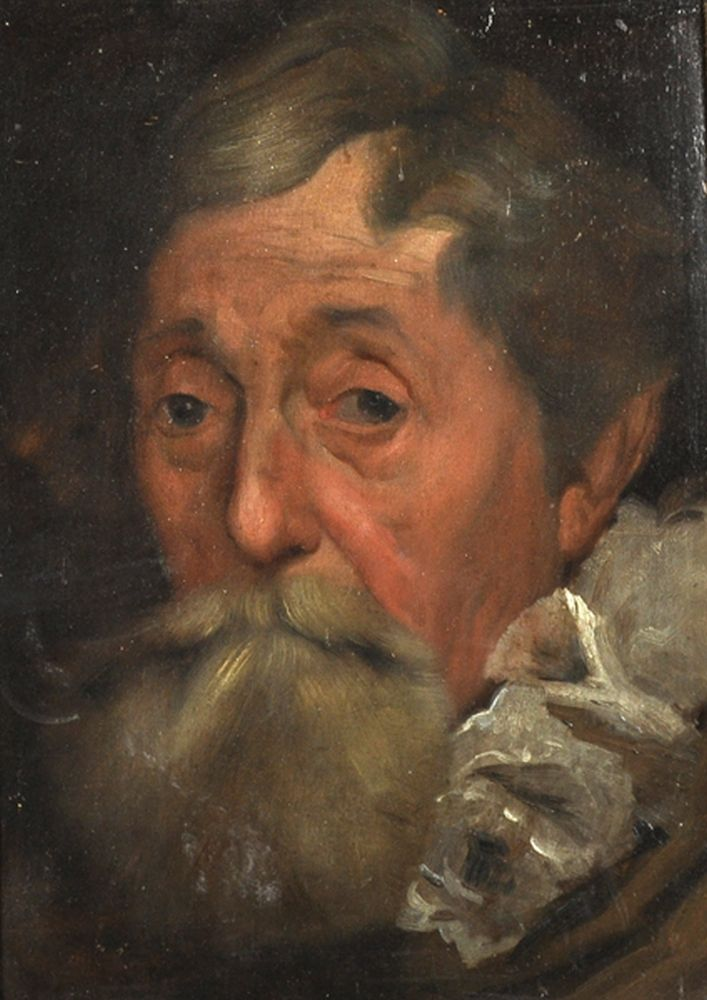 Manner of Anthony Van Dyck (1599-1641) Flemish. Portrait of a Bearded Man, Oil on Panel, 13