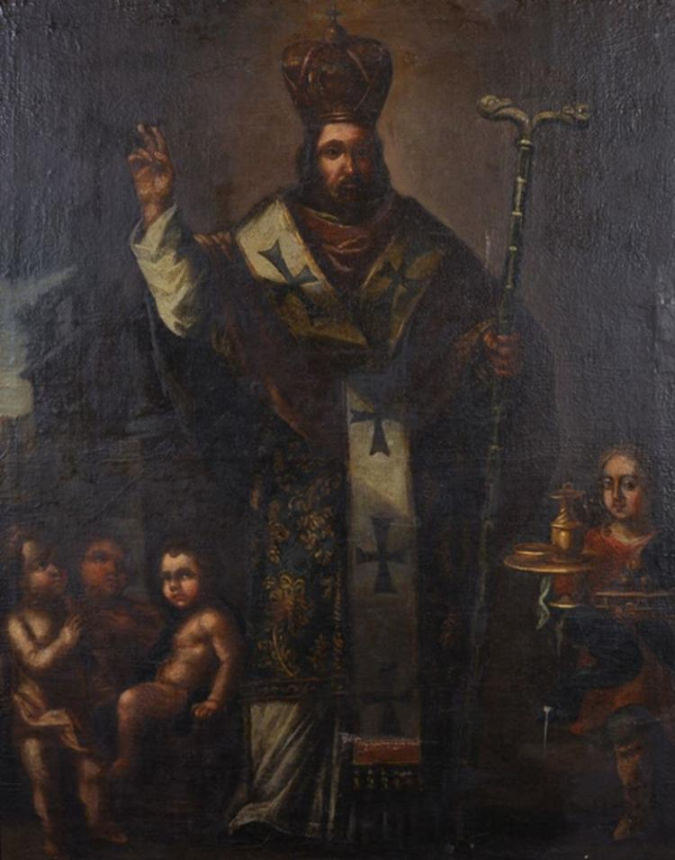 17th Century Spanish School. Study of a Priest, possibly Gregory the Great, with Cherubs, Oil on Canvas, 38