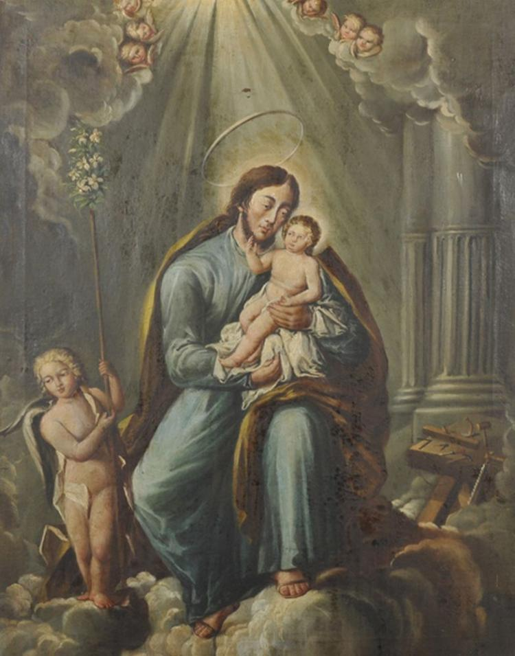 18th Century Spanish School. A Saint with a Baby Jesus, Oil on Canvas, 31.25