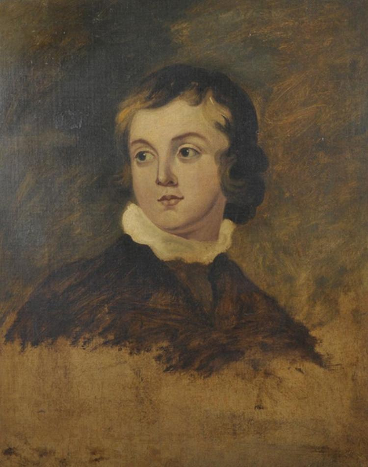 After Sir Thomas Lawrence (1769-1830) British. Sketch of a Young Boy, Oil on Canvas, In a Maple Frame, 24