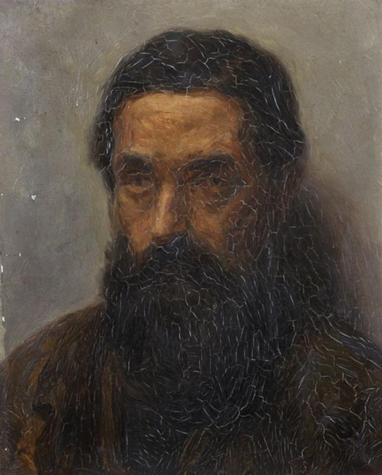 Circle of Claude Monet (1840-1926) French. Study of a Bearded Man, Oil on Canvas, Unframed, 16