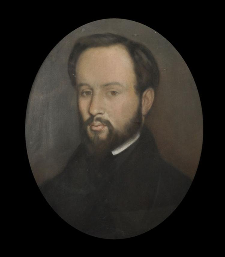 19th Century English School. Portrait of a Bearded Gentleman, Pastel on Paper laid down on Canvas, Framed as Oval, 18