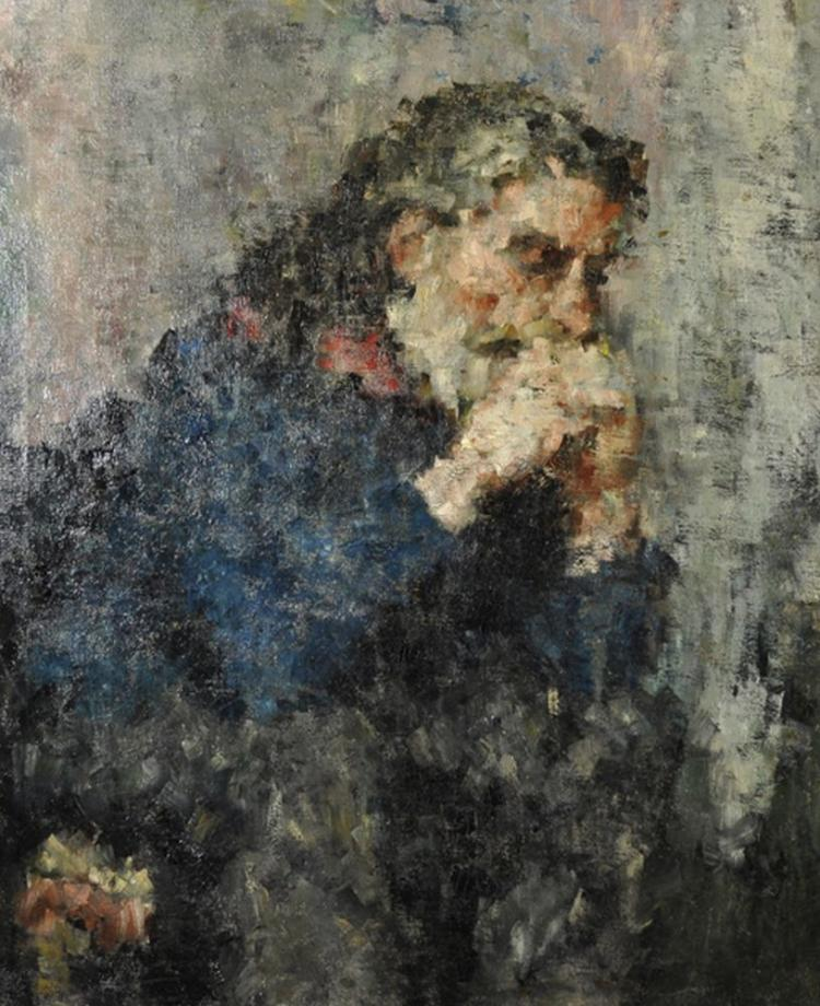 20th Century English School. Portrait of a Bearded Man, Oil on Canvas, 30