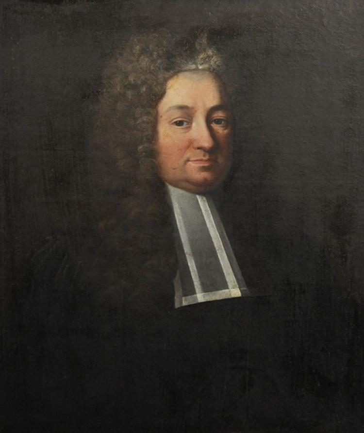 18th Century English School. Portrait of a Cleric, In a Wig and Wearing white Bands, Oil on Canvas, Unframed, 29.5