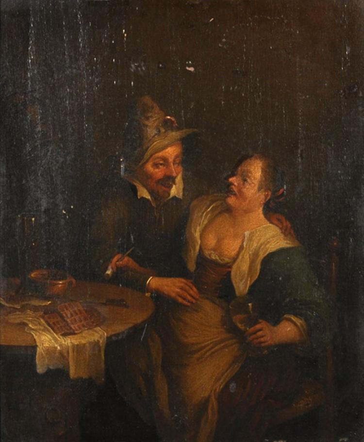 Follower of Cornelis Pietersz Bega (c.1620/32-1664) Dutch. An Amorous Couple in an Interior, Oil on Panel, Wax Seal on reverse, 12