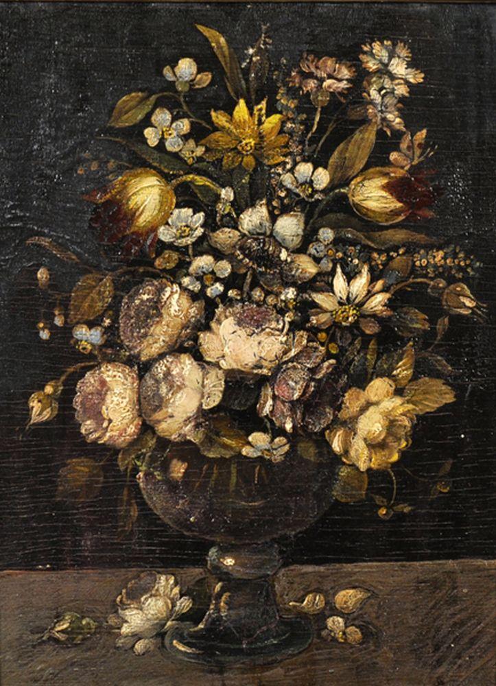19th Century Italian School. Still Life of Flowers in a Vase, Oil on Panel, bears a Signature, 8.5