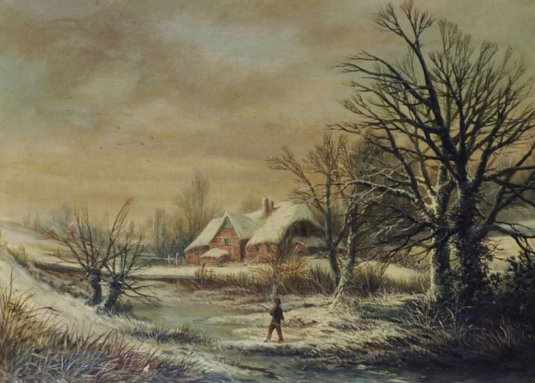 William Stone (1842-1913) British. A Snow Covered Winter Landscape, with a Man holding a Gun in the foreground, Oil on Canvas, Signed, 24