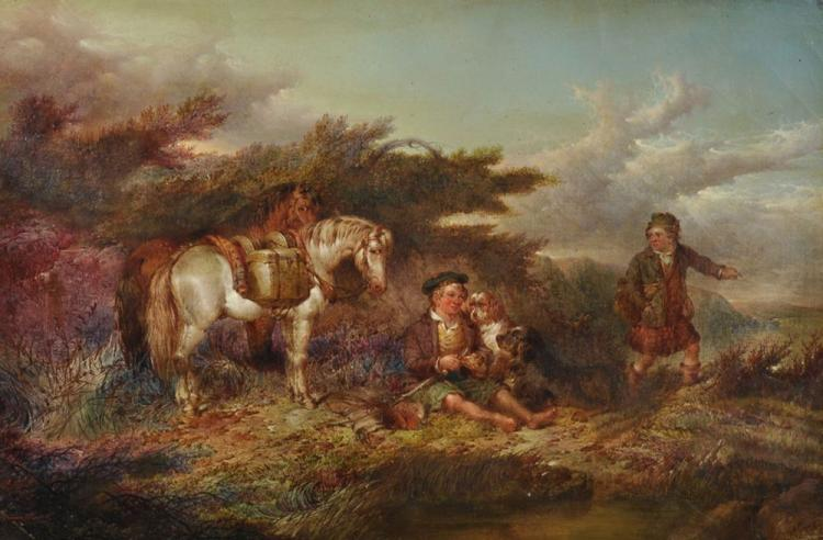 Paul Jones (act.1855-1888) British. A Boy Resting in a Scottish Landscape with Ponies, Dogs and another Figure nearby, Oil on Canvas, Signed and Indistinctly Dated, 12