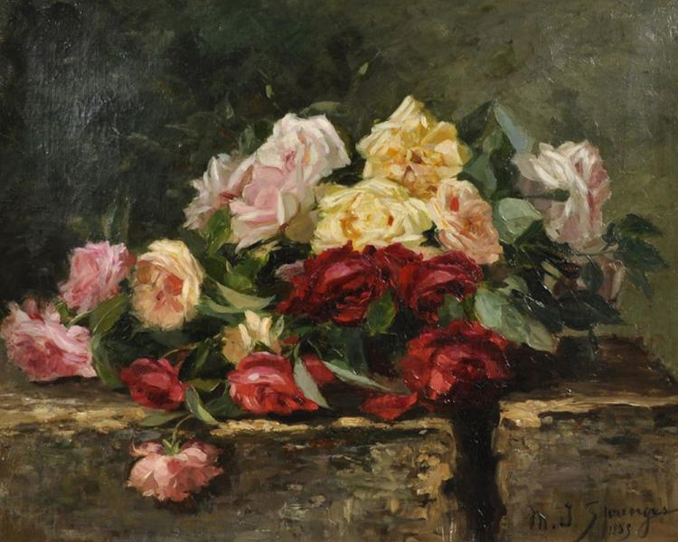 Maurice Isabelle Sprenger (19th- 20th Century) French. Still Life of Roses on a Stone Ledge, Oil on Canvas, Signed and Dated 1885, 18