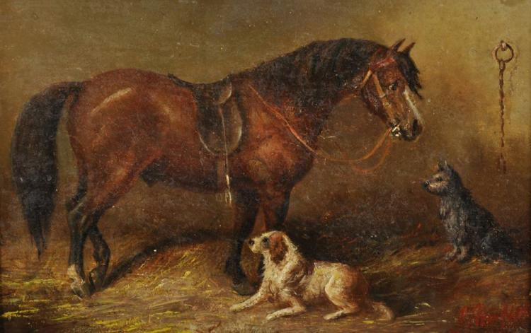 Attributed to George Armfield (1808-1893) British. A Horse and Dogs in a Stable, Oil on Canvas, bears a Signature, 6
