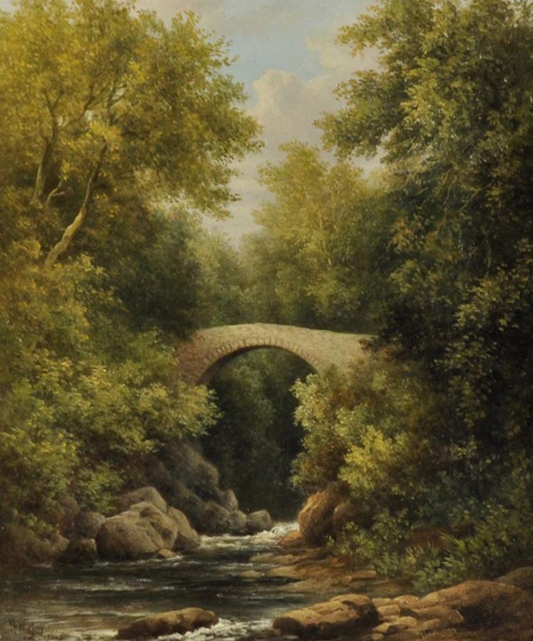 William Ward Gill (1823-1894) British. A River Landscape with a Stone Bridge, Oil on Canvas, Signed, 12