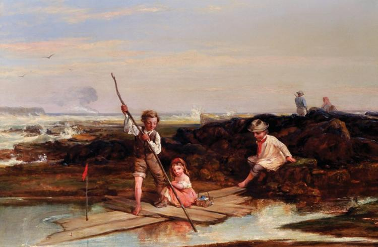 Attributed to William Collins (1788-1847) British. 'Rafting Amid the Rocks', A Study of Children playing on the Beach, Oil on Canvas, Signed, 23.75