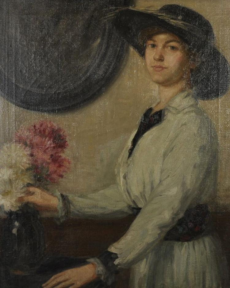 Follower of William Orpen (1878-1931) Irish. Portrait of a Lady Wearing a White Dress and a Black Hat arranging a Vase of Flowers, Oil on Canvas, 37